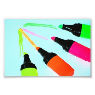 HIGHLIGHTER PENS Neon PINK ORANGE GREEN LIME SCHOO Photographic Print
