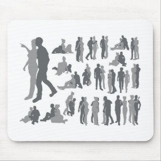Highly detailed couple silhouettes mouse mats