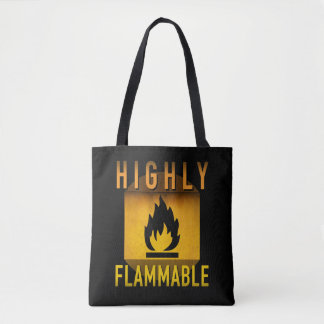 Highly Flammable Warning Retro Atomic Age Grunge : Tote Bag