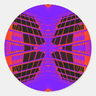 Highly Visible Bright Orange Purple Extreme Design Classic Round Sticker