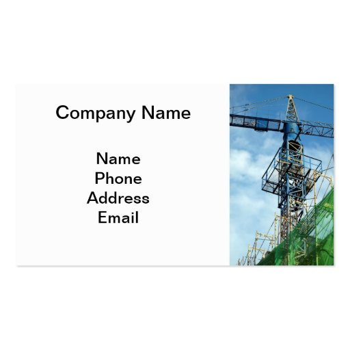 Highrise Construction Site with Blue Crane Double-Sided Standard Business Cards (Pack Of 100)