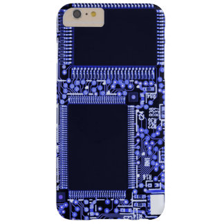 Hightech Circuit board in blue monochrome Barely There iPhone 6 Plus Case