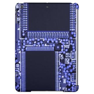 Hightech Circuit board in blue monochrome iPad Air Cover