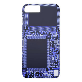 Hightech Circuit board in blue monochrome iPhone 8 Plus/7 Plus Case
