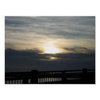 Highway 101 Sunset With Bridge2 Poster