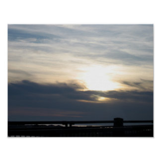 Highway 101 Sunset With Bridge Poster