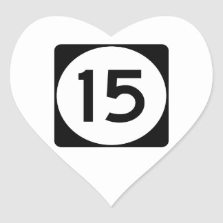 Highway 15, Mississippi, USA Heart Sticker