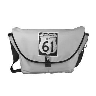 Highway 61 Road Sign Courier Bags