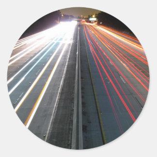 Highway at Night Classic Round Sticker