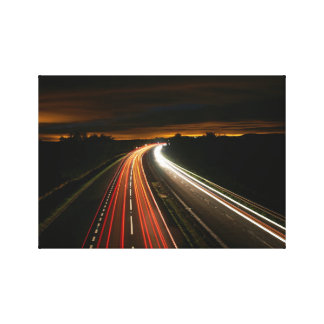 Highway at Night Time Lapse Stretched Canvas Print