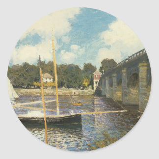 Highway Bridge at Argenteuil, Monet, Vintage Art Classic Round Sticker