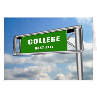 Highway Exit Sign Graduation College Next Card