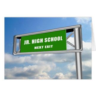 Highway Exit Sign Graduation Jr. High School Next Card