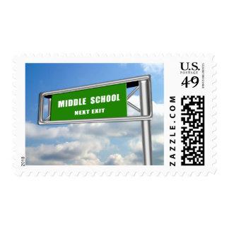 Highway Exit Sign Graduation Middle School Next Postage Stamp