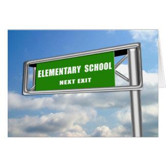 Highway ExitSign Graduation Elementary School Next Card