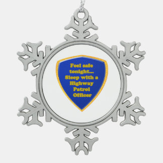 Highway Patrol Officer Snowflake Pewter Christmas Ornament