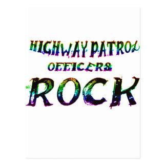HIGHWAY PATROL OFFICERS ROCK COLOR POSTCARD