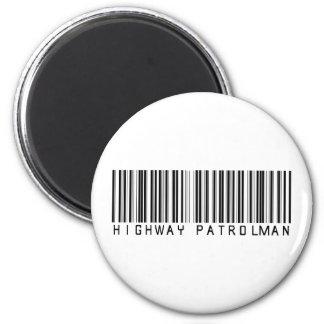 Highway Patrolman Bar Code 2 Inch Round Magnet