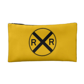 Highway-Rail Crossing, Traffic Warning Sign, USA Cosmetic Bags