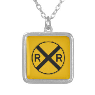 Highway-Rail Crossing, Traffic Warning Sign, USA Custom Necklace