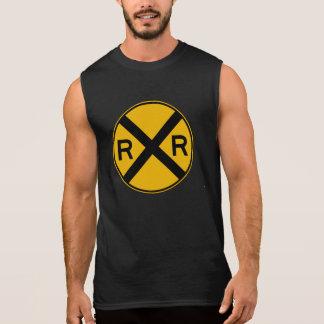 Highway-Rail Crossing Traffic Warning Sign USA Sleeveless T-shirt
