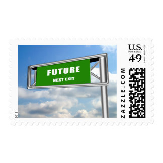Highway Sign Future Ahead Postage Stamp