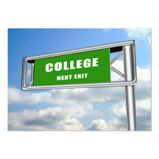 Highway Sign Graduation College Next Card