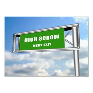 Highway Sign Graduation High School Next Card