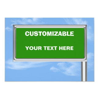 Highway Sign Greeting - Custom Info Template Card
