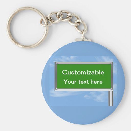 Highway Sign Greeting - Customizable Basic Round Button Keychain