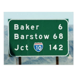 Highway Sign - Miles to Baker & Barstow Postcard