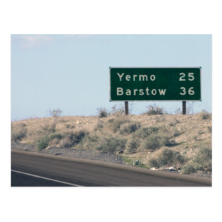 Highway Sign - Miles to Yermo & Barstow Postcard