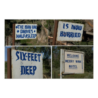 Highway Signs, Merry Wink Motel Poster