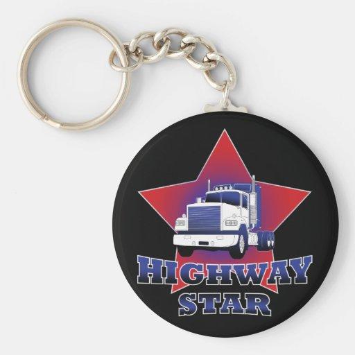 Highway Star Trucker Basic Round Button Keychain