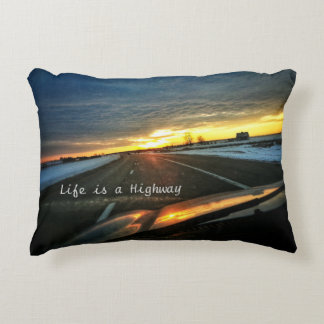 Highway Sunset Accent Pillow