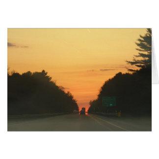 Highway sunset vanishing point card