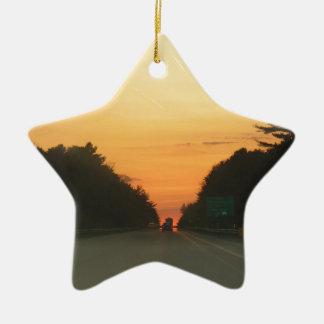 Highway sunset vanishing point ceramic ornament