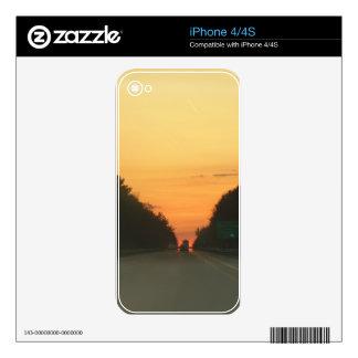 Highway sunset vanishing point iPhone 4S decals