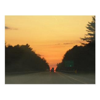 Highway sunset vanishing point postcard