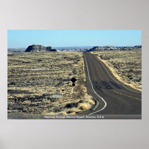 Highway through Painted Desert, Arizona, U.S.A. Print