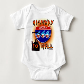 Highway To Hell Route 666 - Round Baby Bodysuit