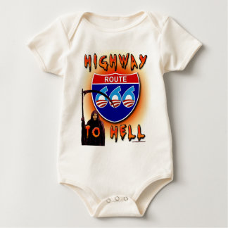 Highway To Hell Route 666 - Round Baby Bodysuits