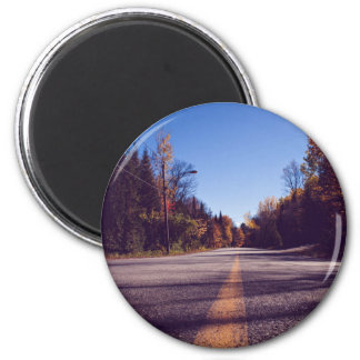 Highway to Woods 2 Inch Round Magnet