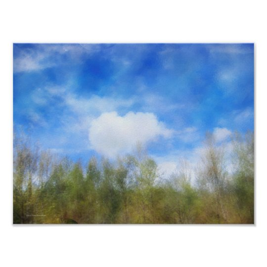 Highway Trees and Clouds Poster