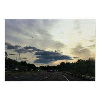 Highway with Clouds Photo Poster