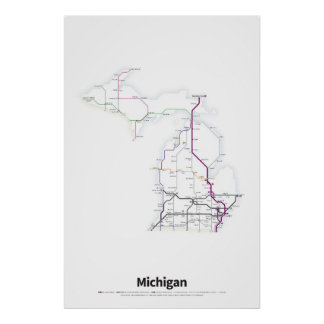 Highways of the USA - Michigan Poster