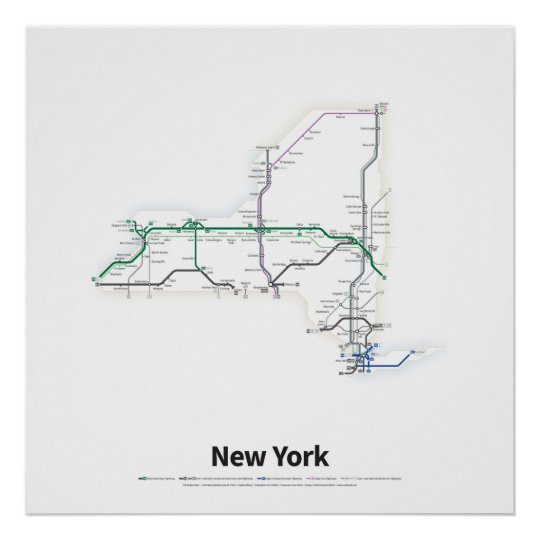 Us Highway As A Subway Map.Highways Of The Usa New York Poster