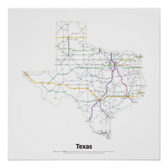Highways of the USA - Texas Poster