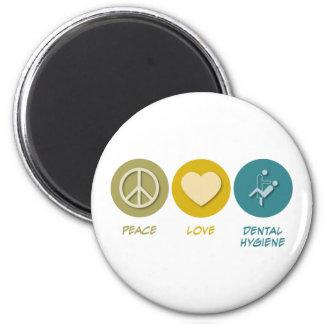 Higiene dental del amor de la paz imán redondo 5 cm