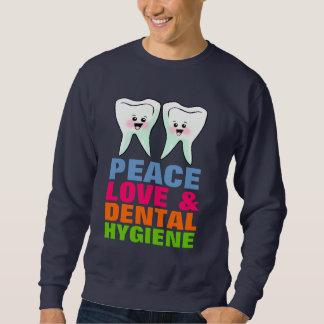 Higiene dental del amor de la paz sudadera con capucha